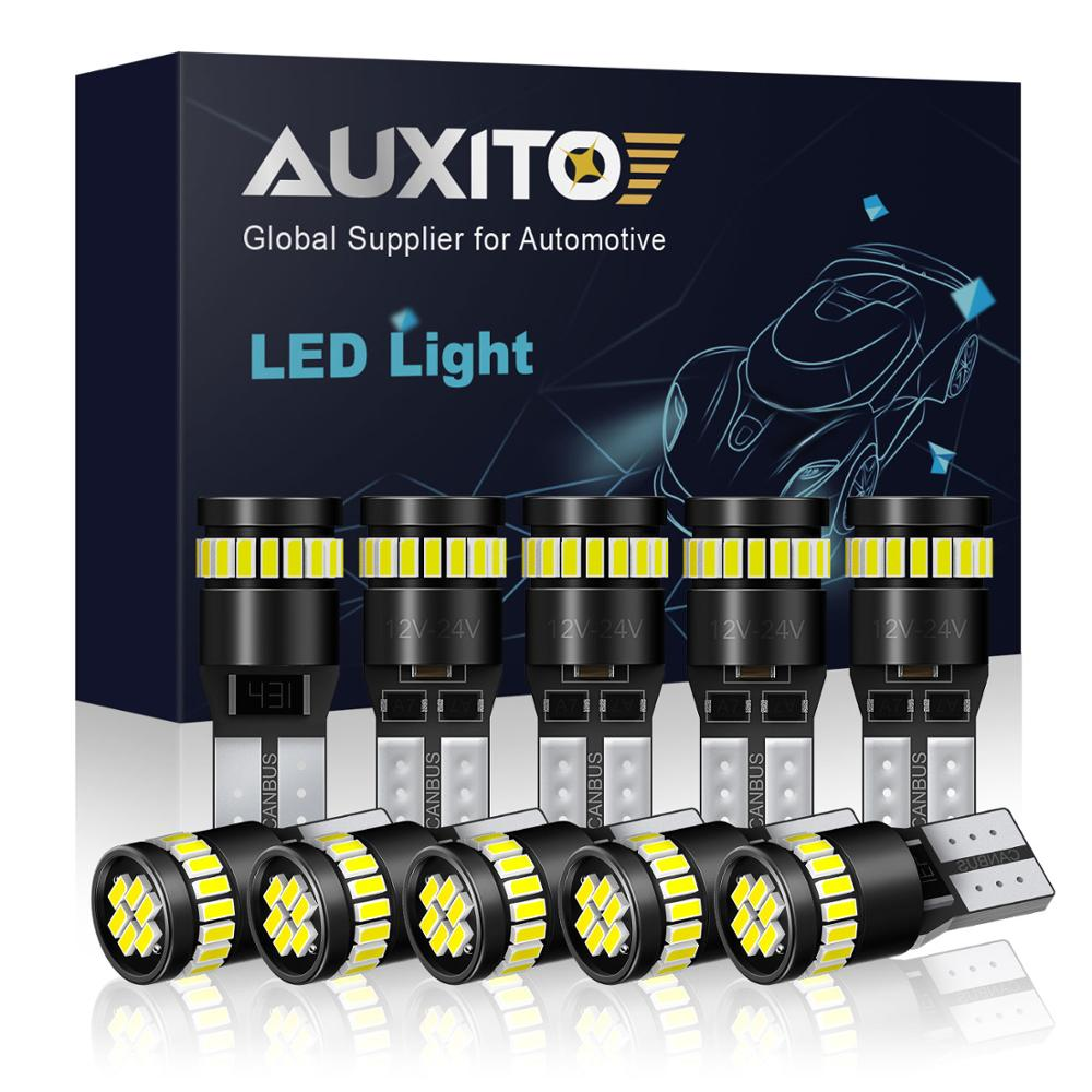AUXITO 10x W5W T10 <font><b>LED</b></font> Canbus Bulb For <font><b>Peugeot</b></font> 206 207 307 3008 2008 308 408 508 301 <font><b>208</b></font> No OBC Error Clearance Parking Lights image
