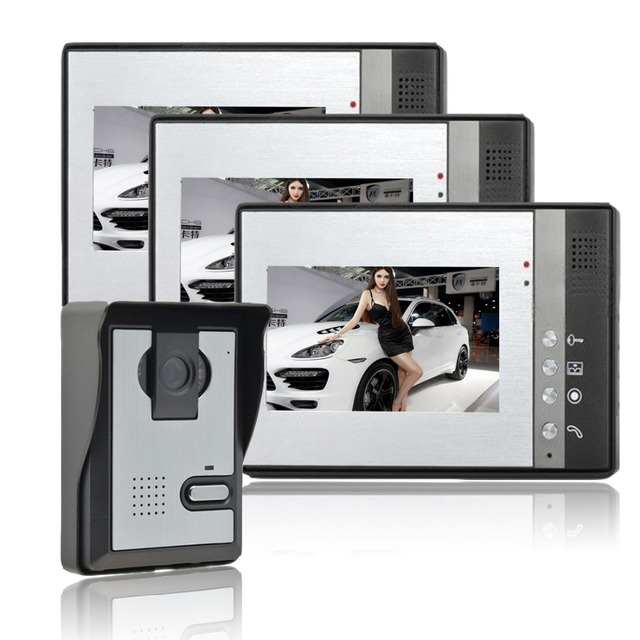 Home Security 7 inch TFT LCD Monitor Video Door phone Intercom System one to Three video doorphone