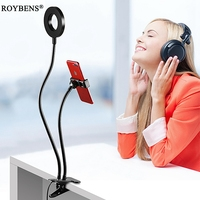 Roybens Cell Phone Holder With Selfie Ring Light For Live Stream Clip Holder Lazy Bracket Photography