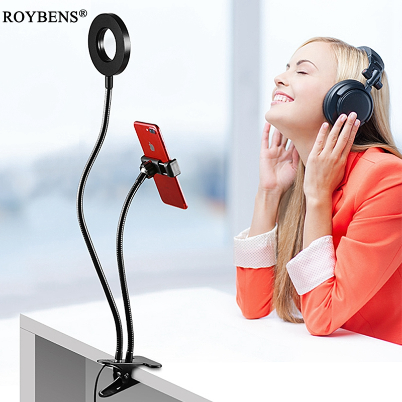 Roybens <font><b>Cell</b></font> <font><b>Phone</b></font> Holder with Selfie Ring Light for Live Stream Clip Holder Lazy Bracket <font><b>Photography</b></font> Ring Light For iPhone 6 7