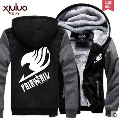 Hot New Fairy Tail Natsu Hoodie Night Lights Guild Logo Winter Fleece Mens Sweatshirts Free Shipping
