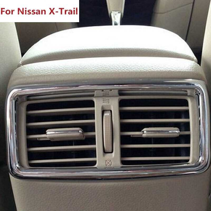 Untuk Nissan X-Trail Rogue T32 2014 2015 2016 Rear AC AC Vent Outlet Cover Trim ABS Chrome mobil Styling 1 Buah