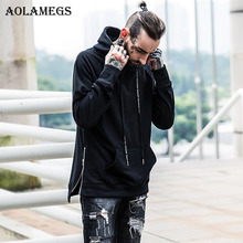 Aolamegs Hoodies Men Side Zipper Design Hooded Pullover Big Pocket Fashion Hip hop Streetwear Kanye West Style Casual Sweatshirt