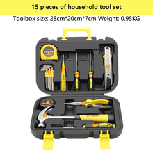 цена на DOXA 15 in 1 Hand Tool Set General Household Hand Tool Kit with Plastic Toolbox Storage Case Wrench Screwdriver Knife pliers