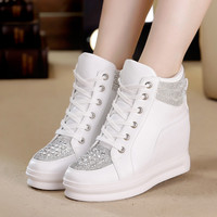 SWYIVY High Top White Shoes Woman Platform Rhinestone Female Fashion Casual Shoes Wedge Heel 2018 New Lady Leisure Sneakers