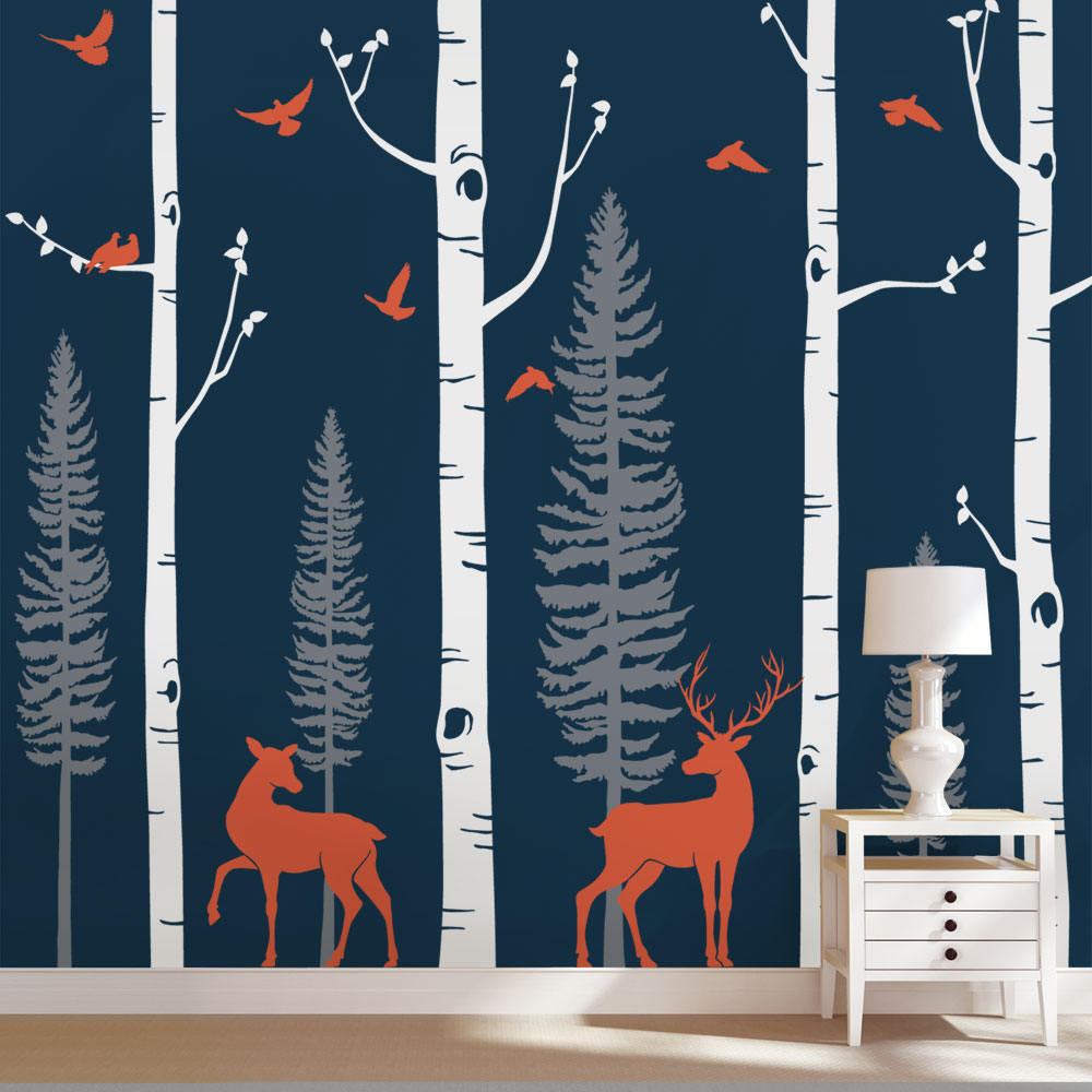 Nordic Forest Birch Tree Wall Decal With Deer Baby Nursery Huge Wall Stickers Nursery Vinyl Wall Decals Mural Home Decor B81