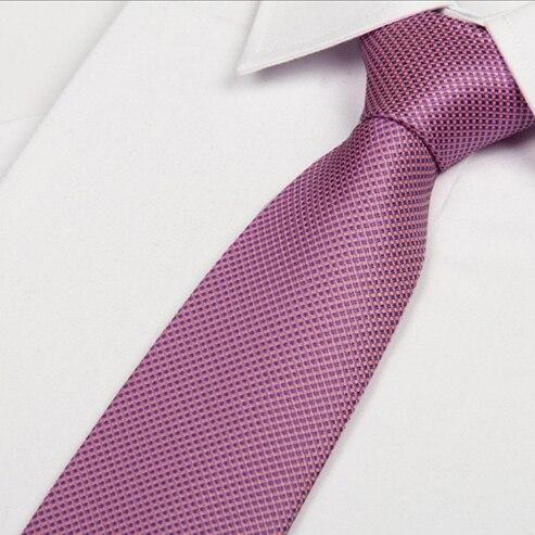 SHENNAIWEI Men Hot Pink Slim Purple Squares Silk Neck Tie 8cm Gravata 2016 New Arrival Gentlemen Neckties Fashion Casual Lot