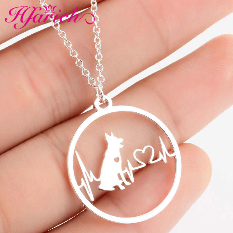 Hfarich Stainless Steel German Shepherd Dog Pendant Necklace Heartbeat Jewelry Personality Pet Lover Gifts Boy Drop Shipping