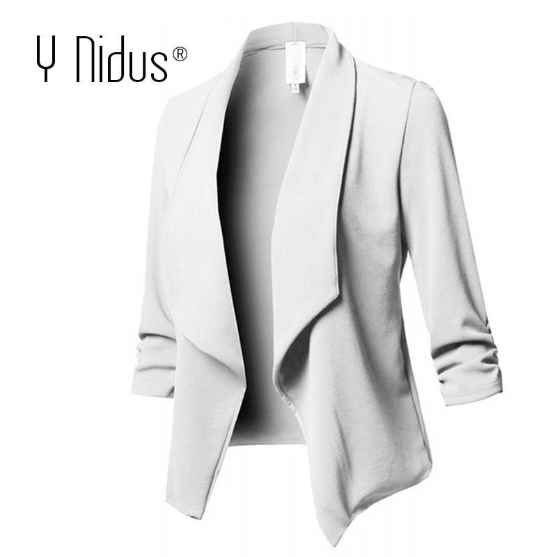 White Blazer Women's Jacket Work Office Ladies Slim Suit Stretch 3/4 Gathered Sleeve Open Front Blazer Plus Size Blazer Femme