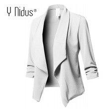 White Blazer Womens Jacket Work Office Ladies Slim Suit Stretch 3/4 Ga