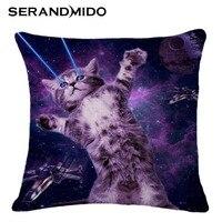 45x45cm Creative 3D Cat Printed Cotton And Linen Cushion Pillow High Quality Office Sofa Cushions