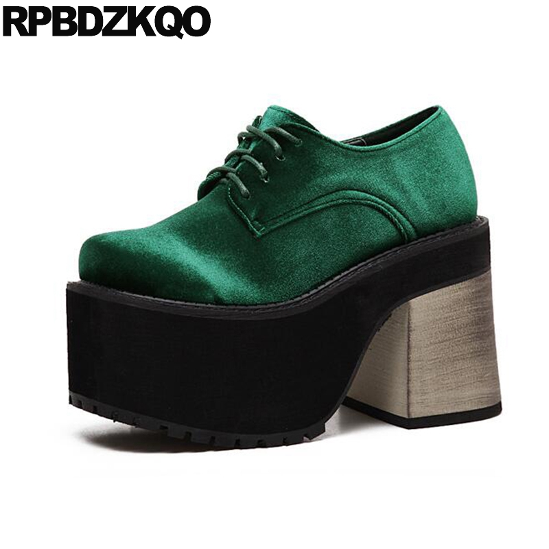 все цены на Extreme Velvet High Heels Green Platform Shoes Fashion Harajuku Gothic Lace Up Women Punk Black Round Toe Creepers Chunky Spring