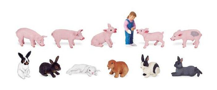 Figurine pvc modèle jouet ferme 12 pièces/ensemble cochon petite fille lapin
