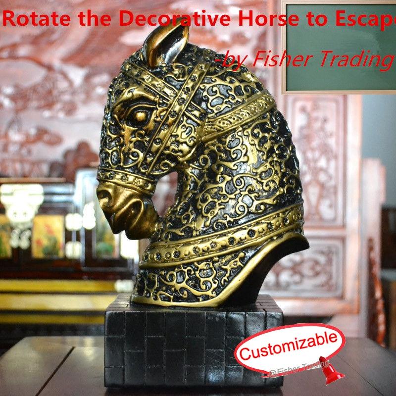 Ruotare il cavallo decorativo per aprire la porta/blocco, testa di cavallo prop, misteriosi, vita reale room escape giocoRuotare il cavallo decorativo per aprire la porta/blocco, testa di cavallo prop, misteriosi, vita reale room escape gioco