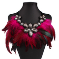 Women Feather Collar Necklaces Boho Jewelry Glass Gems Big Choker Statement Necklaces & Pendants Accessories Trendy