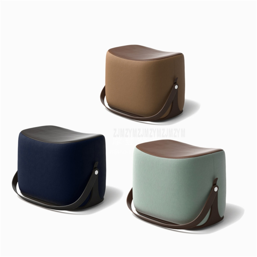 Creative Modern Sofa Ottoman Stool Portable Handle Saddle Foot Stool 7 Colors Microfiber Leather Cashmere Living Room Stool hot selling fine workmanship high quality fashion modern shoes stool fabric creative footstool living room sofa stool ottoman