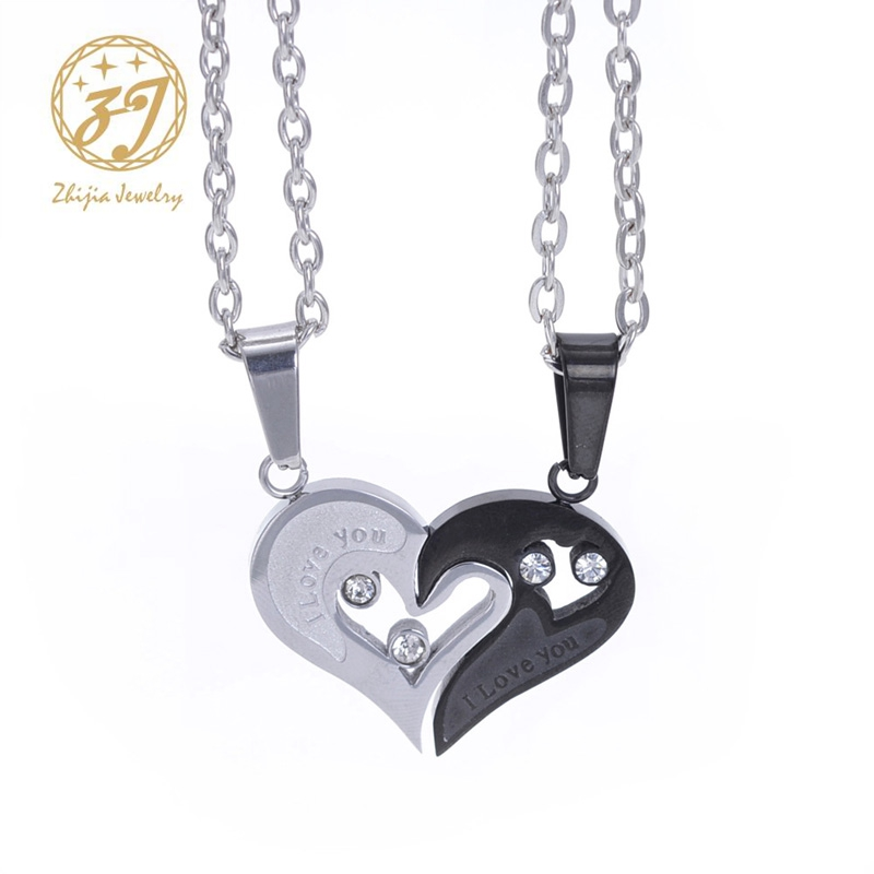 2PCS Couple Stainless Steel Necklace Sets I Love You Heart Shape Pendant Jewelry