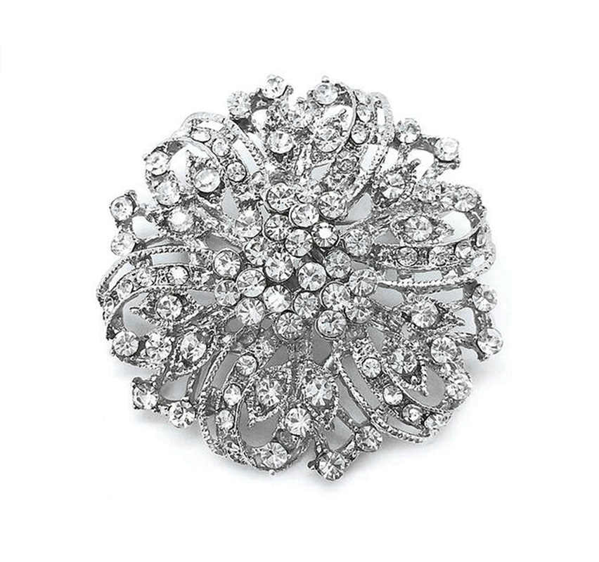 Vintage Argento Placcato Rhodium Del Rhinestone Di Cristallo Diamante Da Sposa Bouquet di Fiori Spilla 2 pollice