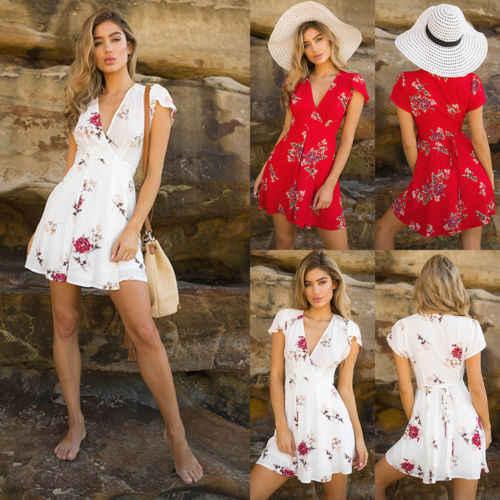 Женщины; Лето; в стиле бохо короткое платье Леди Vestido v-образным вырезом шифон шикарный праздник сладкий сексуальный красный бандаж вечерние пляжные Цветочные Сарафаны