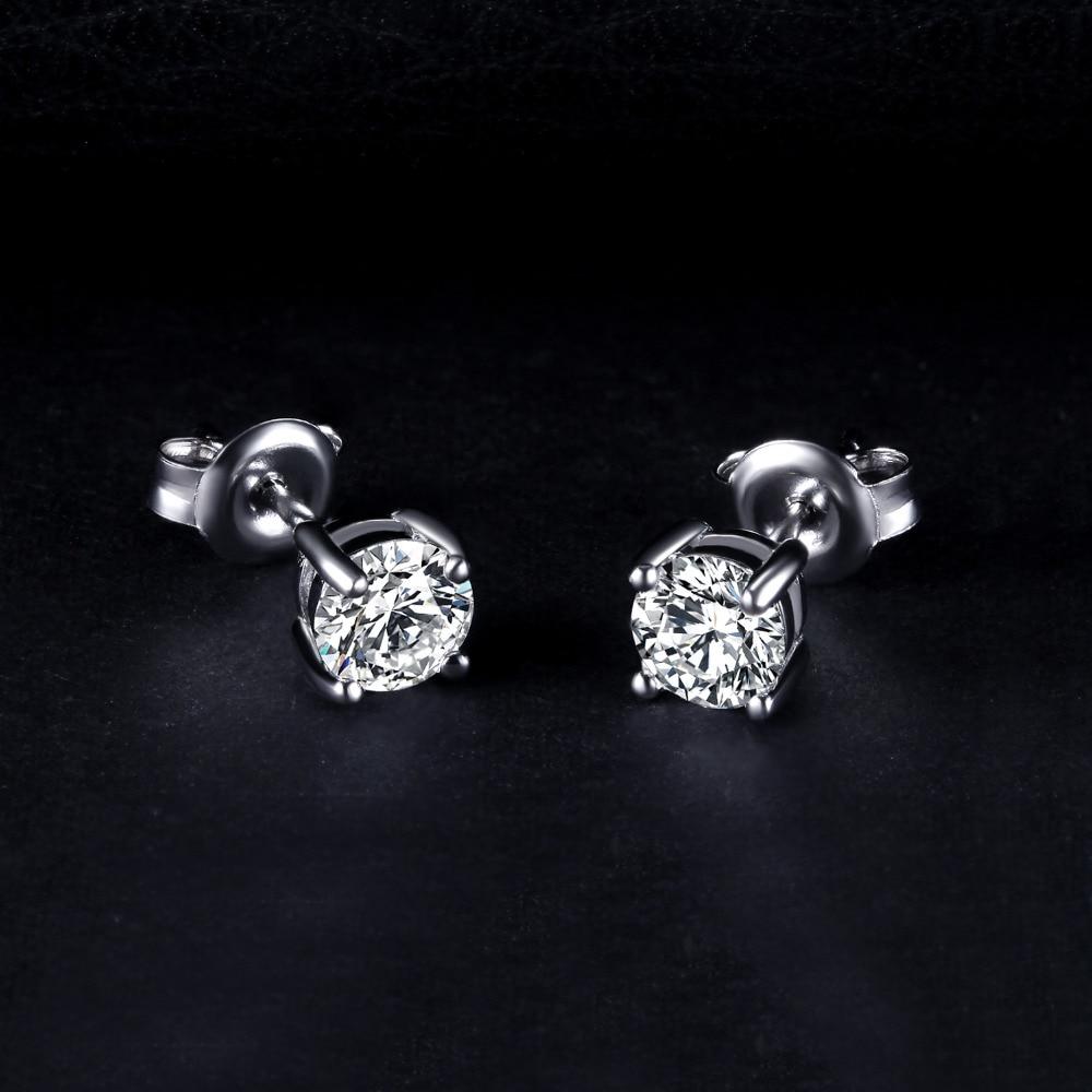 Dəyirmi 1ct Simulyasiya edilmiş Diamond CZ Stud Sırğalar 925 - Gözəl zərgərlik - Fotoqrafiya 2