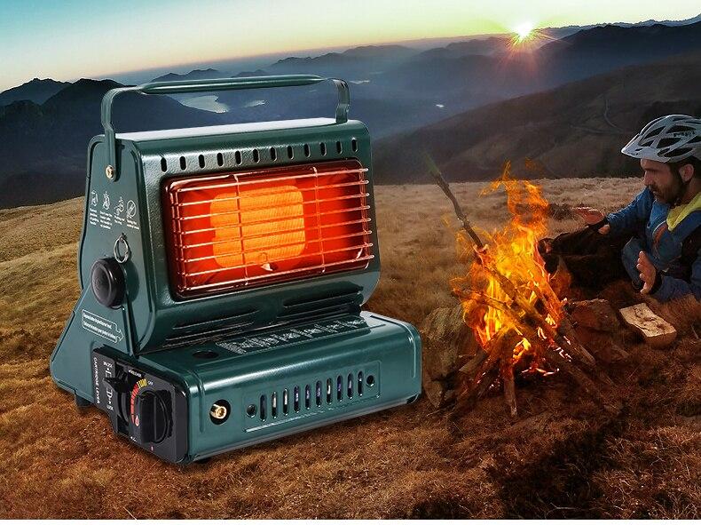 Nouveau appareil de chauffage extérieur cuisinière à gaz 1.3kw voyage Camping randonnée pique-nique équipement double usage cuisinière extérieure chauffage fer