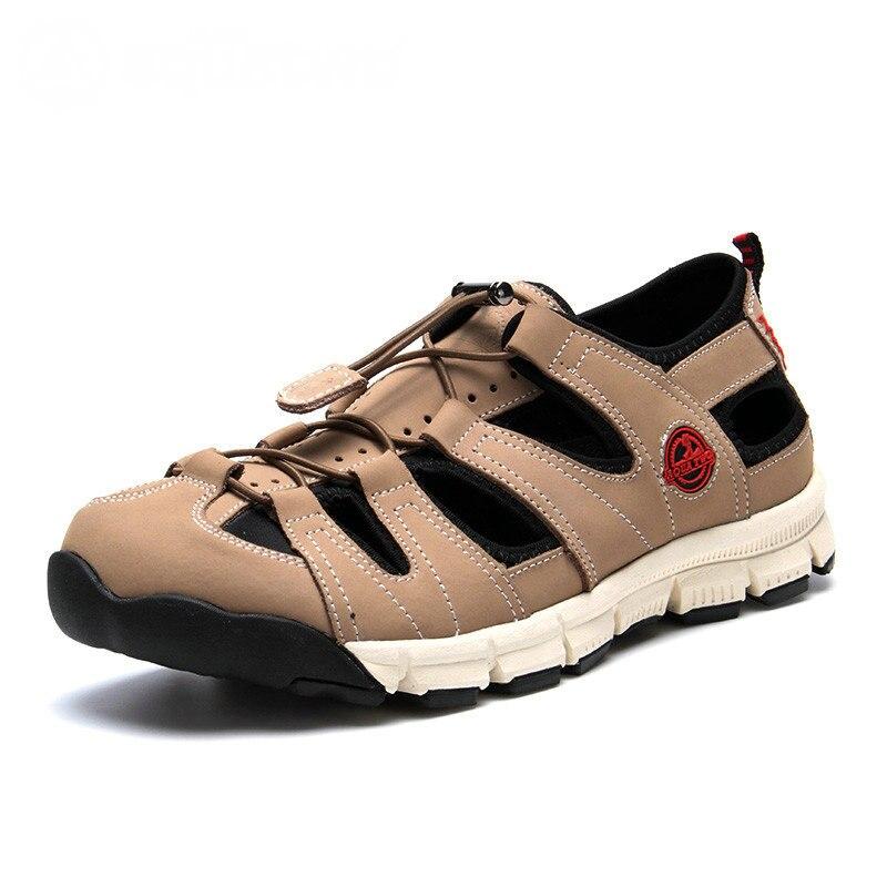 ФОТО 2016 AQUATWO New Men Slippers Summer Leather Breathable High Quality Beige Black Brand Mens Sandals US5.5-10# Hot Sale Shoes Men