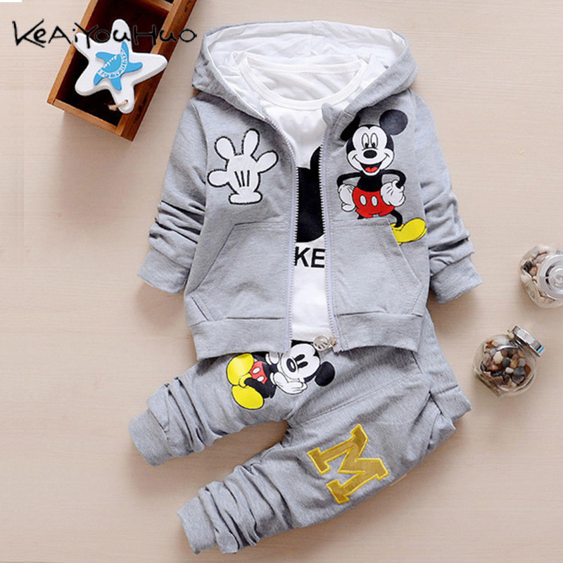 Toddler Boys Costume For Girls Clothing Sets Spring Autumn Kids Outfits T-shirt+Pants 3pcs Tracksuit Children Clothes Sport Suit(China)