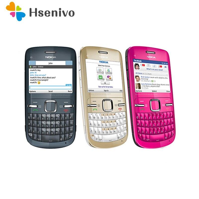 C3 оригинальный Nokia C3-00 Wi Fi 2MP Bluetooth Jave Восстановленный разблокированный сотовый телефон