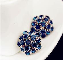 Europe luxury Nice female statement jewelry Blue Ball Crystal Flower piercing Stud Earring for Women Gift Wholesale SALE xeh-007