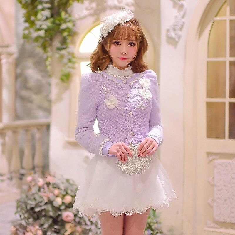 Princesse douce lolita manteau bonbon pluie original 2016 nouveau printemps coréen chandail cardigan manteau fleurs bulle manches C16AB6013