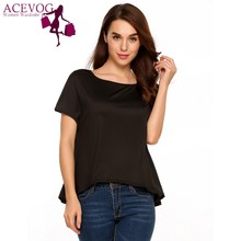 ACEVOG T-shirts Women Raglan Short Sleeve Solid Loose T-shirt Asymmetric tshirt Hem Casual Tops