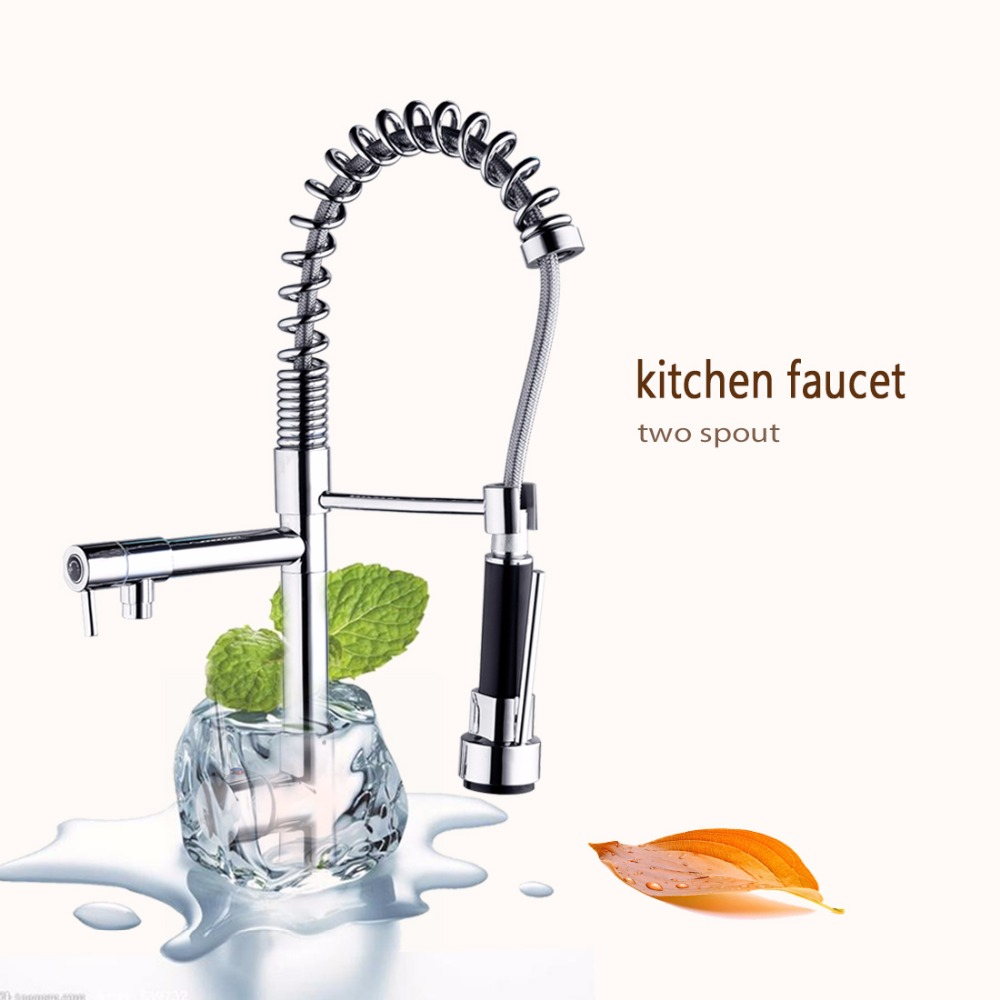 Two Swivel Spouts Deck Mount Pull Out Kitchen Sink Faucet Hot & Cold Water Mixer Tap Chrome Finish Single Handle Faucet modern new chrome brass kitchen faucet single handle led pull out swivel sink mixer hot and cold water yc cl3011a