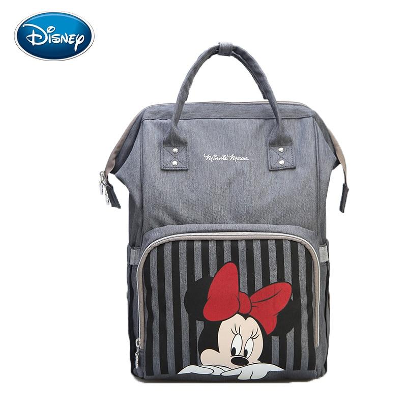 Disney Mickey Minnie Nappy Bag Travel Diaper Bag Bolsa Maternidade Waterproof Stroller Bag USB Baby Bottle Warmer