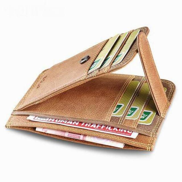 2017 New Men Genuine Leather Wallet Business Casual Credit Card ID Holder with Hasp Money Clip 2 colors B001