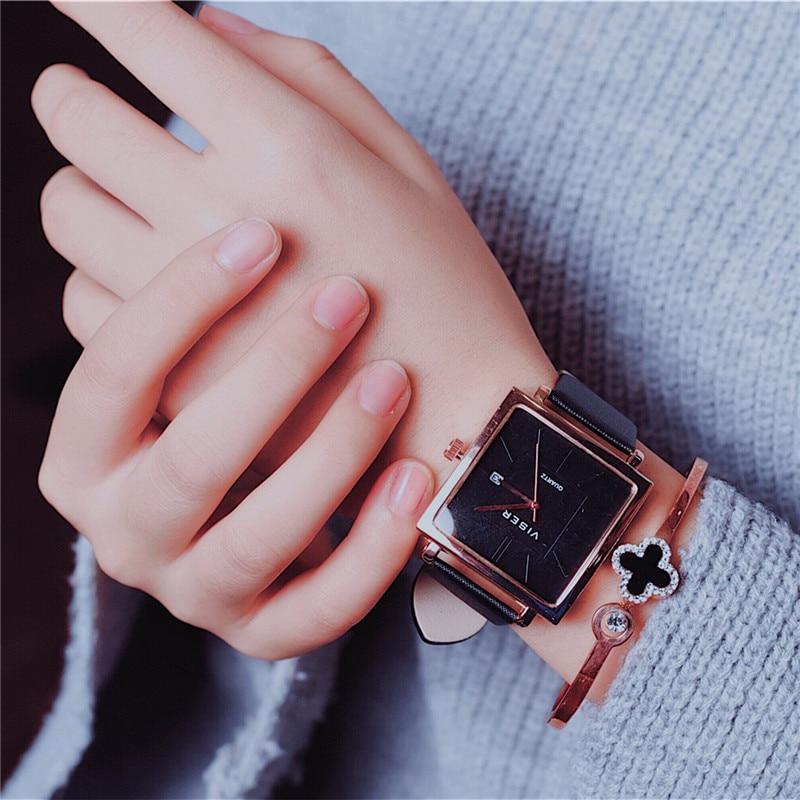 Luxury Simple Stylish Square Women Dress Watch Ladies Modish Rose Gold Quartz Wristwatches Calendar Black Brown Relogio Feminino orkina p0032 stylish men s quartz analog wrist watch simple calendar brown golden 1 x lr626