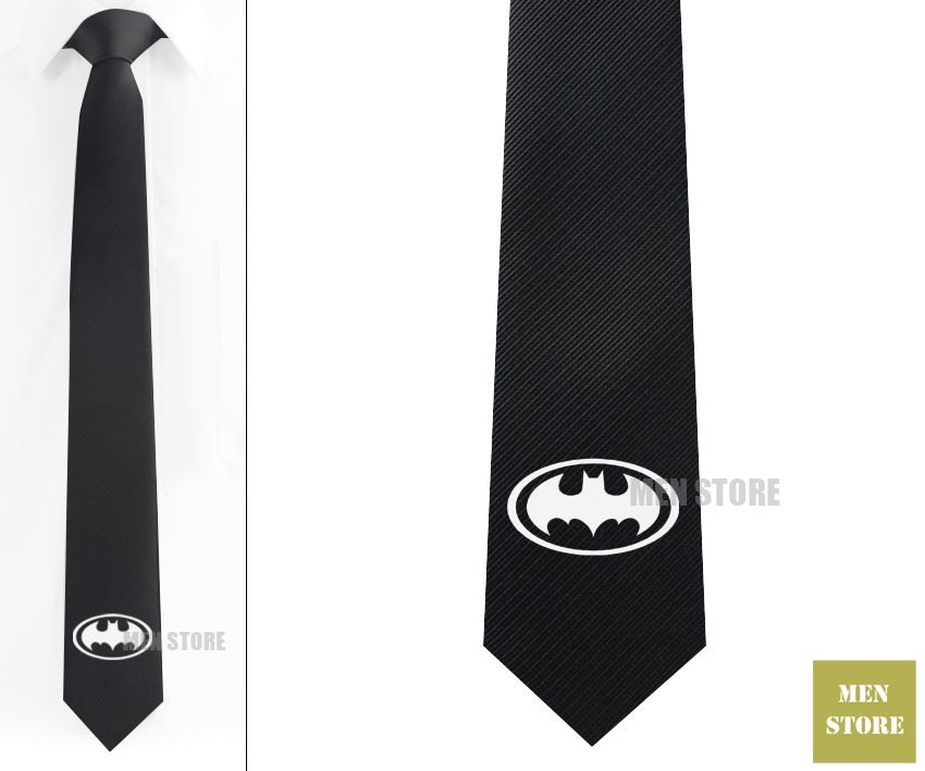 Super Hero Batman Symbol Men Jacquard Woven Skinny Narrow 2.3 Necktie 6 cm Neckwear Wedding Party Groom Tie Cufflink LK007M