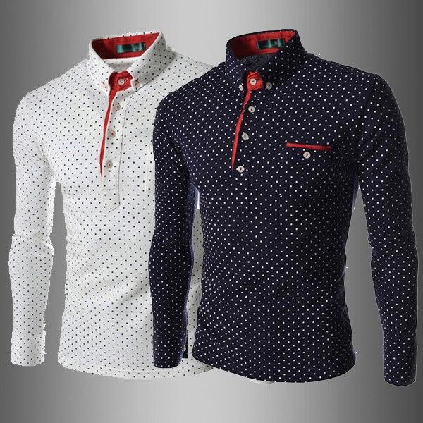 2016 Новых людей прибытия рубашки поло с длинным рукавом хлопок xontrast цвет горошек Британский стиль мужской одежды дышащий fit дизайн