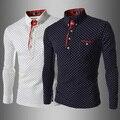 2016 Nueva llegada de los hombres camisas de polo de algodón de manga larga xontrast color de lunares estilo Británico masculino transpirable vestido de ajuste diseño