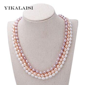 051bdf8b8f5a Yikalaisi 2017 100% natural 6-7mm perla Collar para las mujeres moda 925  joyas de plata de la perla niñas mejor regalo