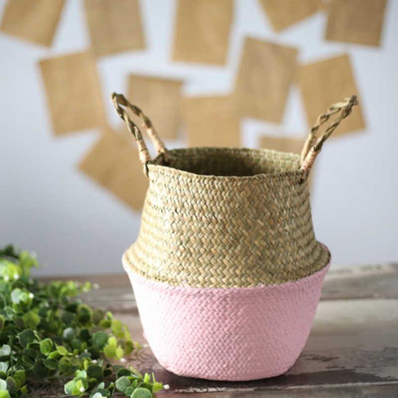 Mini bambu saklama sepetleri katlanabilir çamaşır samanı Patchwork hasır Rattan Seagrass göbek saksı ekici el yapımı sepet