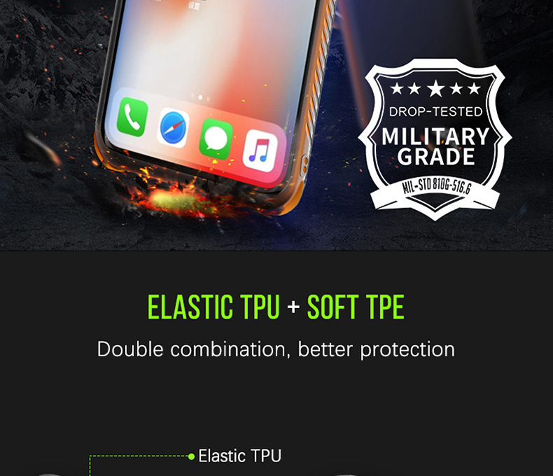 Military grade Anti-knock Case For iPhone X iPhone 7 case soft clear Transparent 2 in 1 TPU+TPE Cover for iPhone 6 6s 7 8 plus (2)