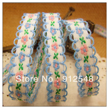 free shipping 3 8 10mm chromophous embroidery ribbon laciness mobile phone strap diy handmade clothes accessories