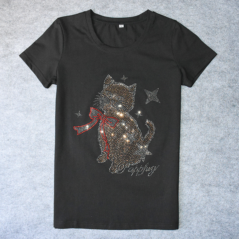 749a7d5f9b7 Lovely Cat Print T-shirts for women Diamond Casual Tee-shirt White Blank  Cotton