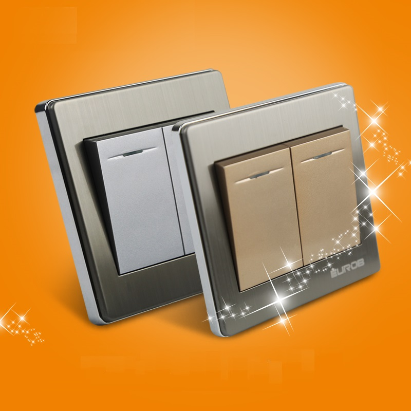 E9 Series Brushed Stainless Steel Gold Wall Switch With fluorescence 86-type 2 Gang 1 Way Single Control Switch Socket Panel 1