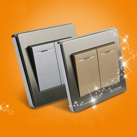 E9 Series Brushed Stainless Steel Gold Wall Switch With fluorescence 86-type 2 Gang 1 Way Single Control Switch Socket Panel