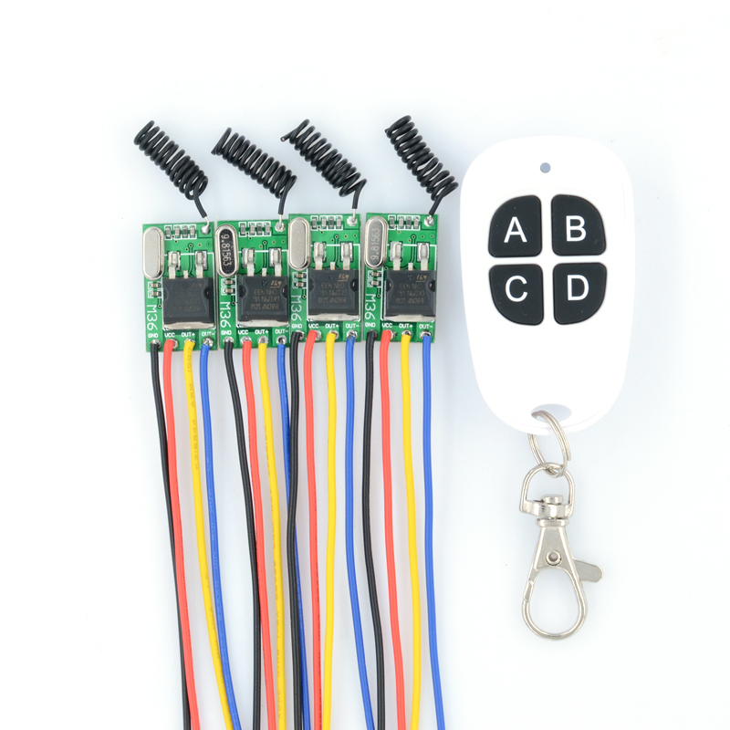 DC6V-36V 6V 7.4 8.4V 7.6V 9V 12V 24V 16V 28V 36V 4PCS Wireless Remote Control Switches 315Mhz Mos Receiver No Sound
