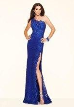 2016 die royal blue lace Vestido De tod schulter abendkleid formale schönheit kleid OP569 lange robe De partei
