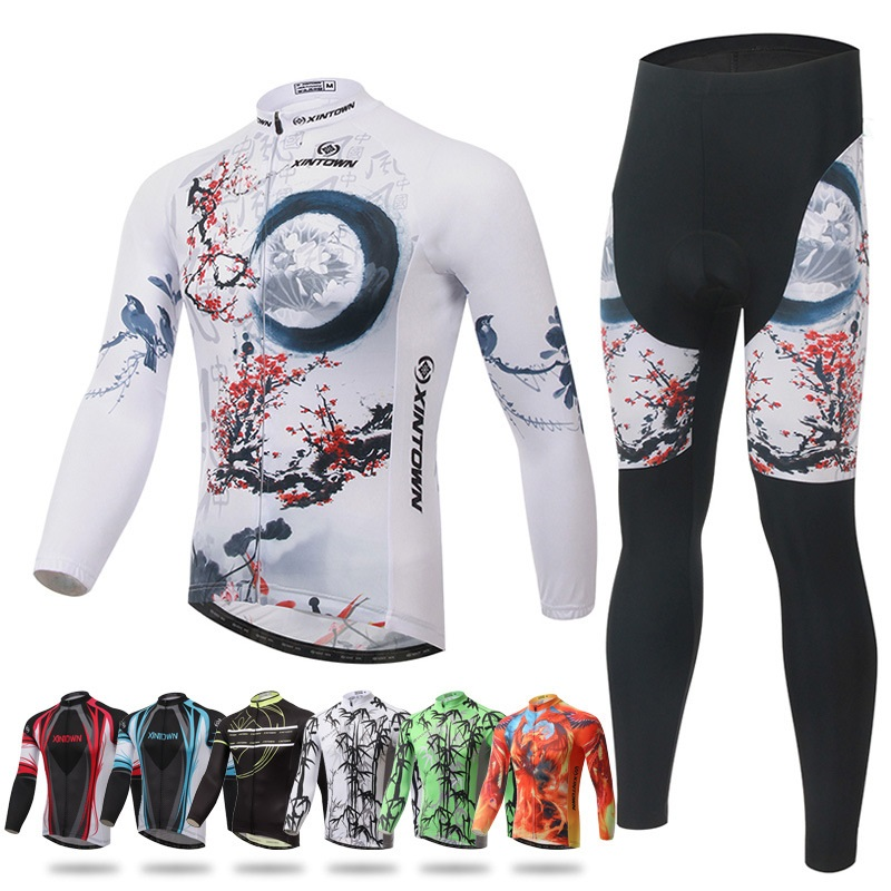 Winter Thermal Cycling Set Long Sleeved Jersey and Pants Suit Bicycle Clothing Outdoor Sports Wear Bike Jerseys teleyi men cycling jersey bike long sleeve outdoor bike jersey bicycle clothing wear breathable padded bib pants set s 4xl