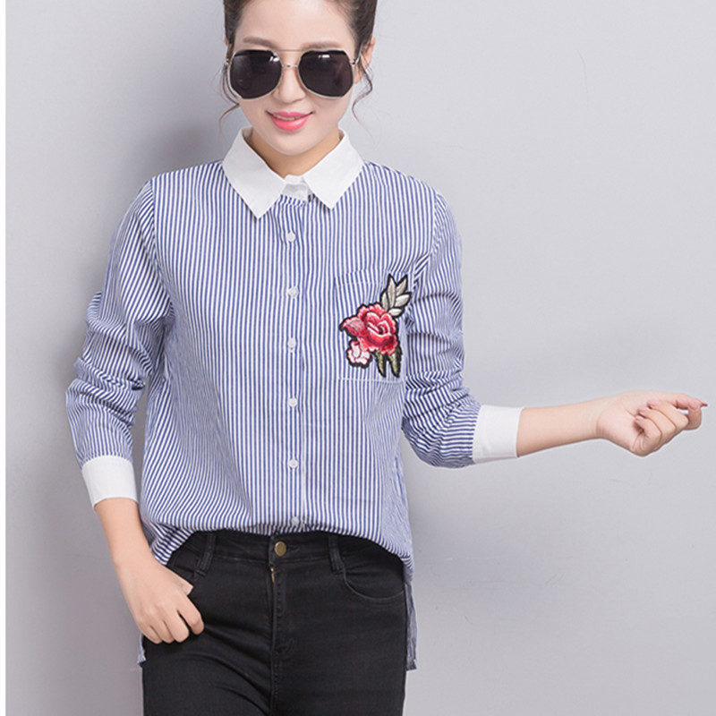 2017 Fashion Women Long Sleeve Blouse Spring Rose Floral Embroidered Work  Shirts Ladies Office White Blue Striped Tops S XXL-in Blouses & Shirts from  ...