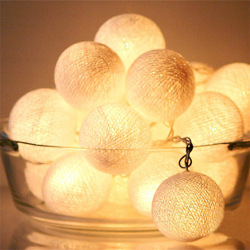 20pcs/set White Battery Operated Cotton Balls String Lights Christmas LED Garland Holiday Party Wedding Baby Kid Room Decoration